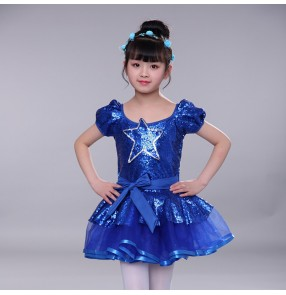 Girls modern dance dress costumes kids children pink blue star sequin ballet chorus stage performance singers dresses